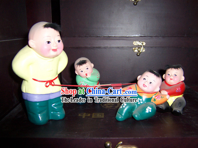 Chinese Clay Sculpture-Tug of War
