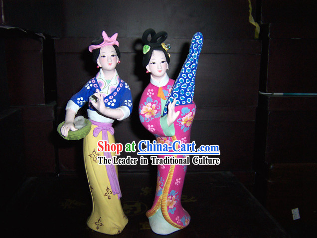 Hand Made Hui Shan Clay Figurine-Ancient Beauty Pair