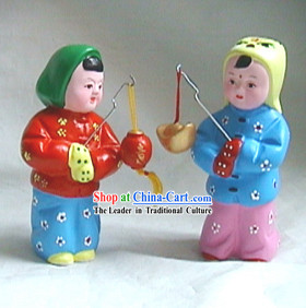 Beijing Hand Made Clay Figurine-Boys Beating The Drum to Remind The Time at Night