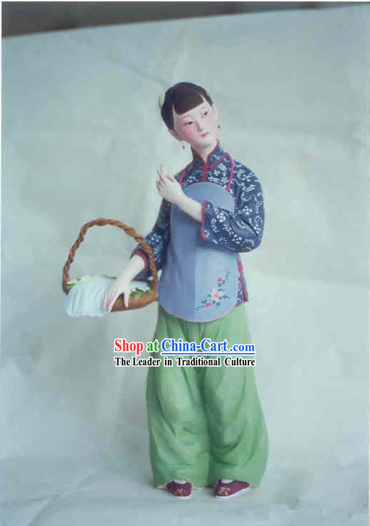 China Hand Painted Sculpture Art of Clay Figurine Zhang-Country Girl Balan