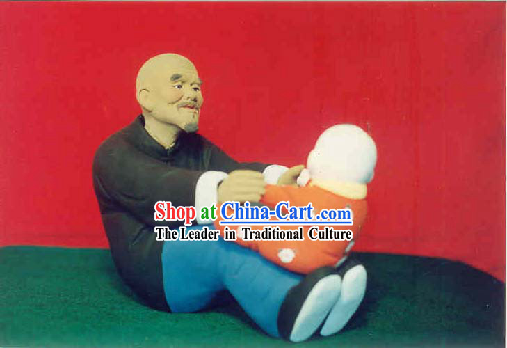 Chinese Hand Painted Sculpture Art of Clay Figurine Zhang-Grandfather Love