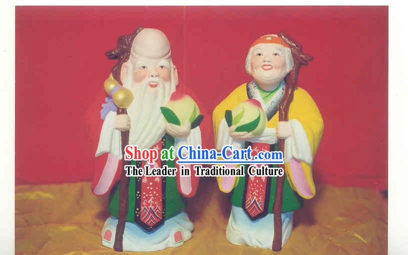 Chinese Hand Painted Sculpture Art of Clay Figurine Zhang-Healthy and Happy Old Couple