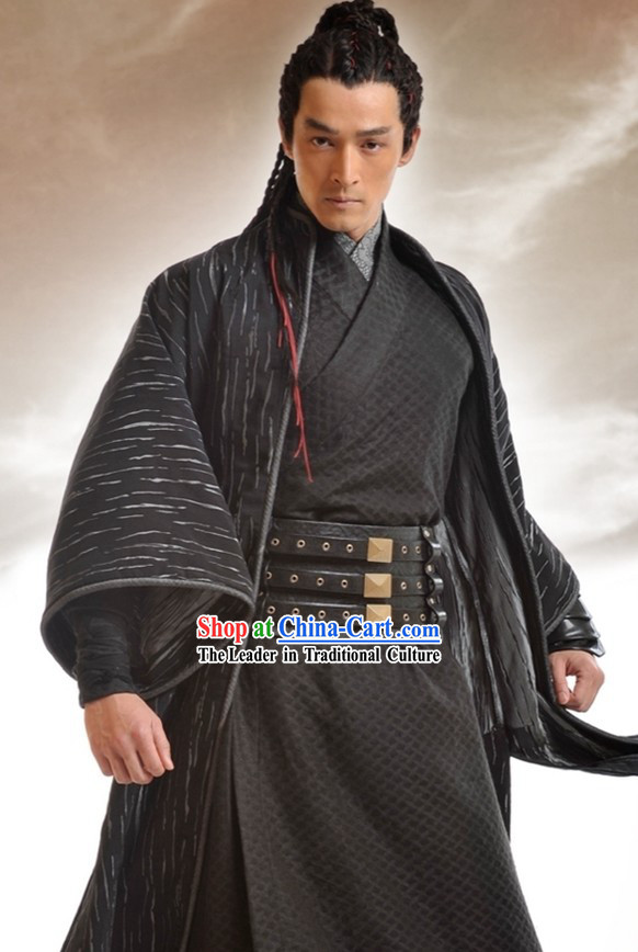 Ancient Chinese Black Swordsman Costumes Complete Set