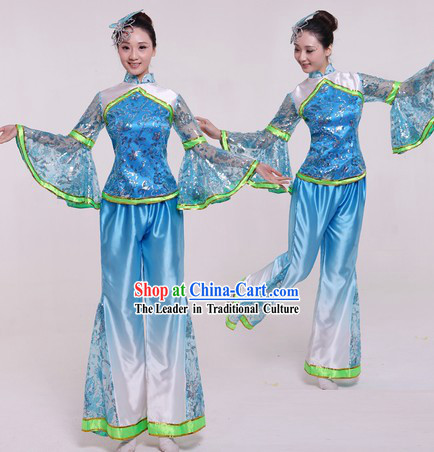 4a21dff6b Traditional Chinese Fan Dance Costume and Headpiece for Women