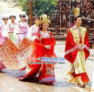 Ancient Chinese Red Royal Wedding Dresses For Brides And Bridegrooms,50 Year Old Wedding Dress
