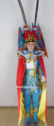 Chinese Peking Opera Stage Performance Costumes and Headwear for Children