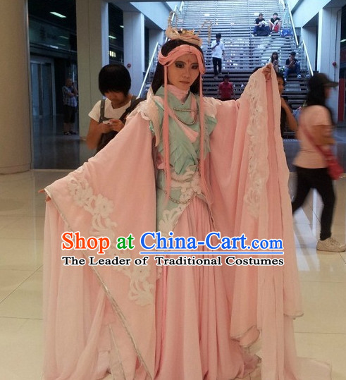8723b0799 Ancient Chinese Fairy Halloween Costumes and Headwear Complete Set for Women