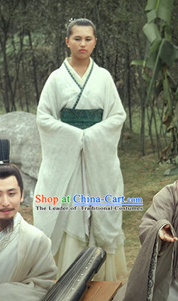Chinese Costume Chinese Costumes National Garment Outfit Clothing Clothes Ancient Jin Dynasty Maid Servant Costume for Women