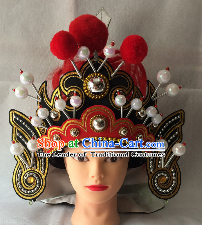 Chinese Opera General Superhero Hat Helmet Hat Headwear Headpieces Headdress for Men