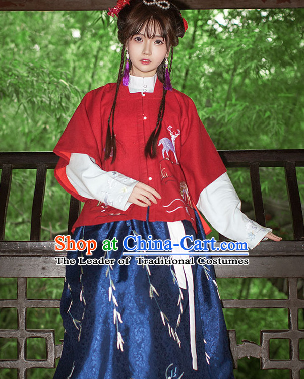 Traditional Chinese Ancient Costume Costumes Hanfu Han Fu Clothes Clothing Dress4444