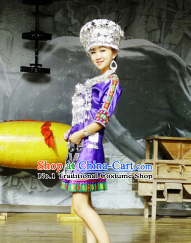 China Hmong Miao Ethnic Clothing and Silver Hat for Girls