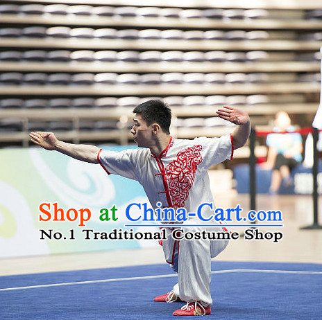 8acc2abb4 Top White Embroidered Chinese Southern Fist Kung Fu Uniform Martial Arts  Uniforms Kungfu Suits Competition Costumes