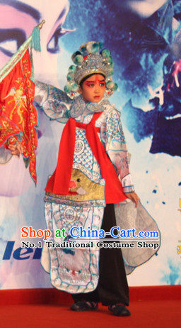 Chinese Ancient Beijing Opera Peking Opera Wu Sheng Costume and Helmet Complete Set for Kids