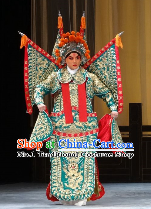 Chinese Ancient Beijing Opera Peking Opera General Warrior Armor Costume and Helmet Complete Set for Men