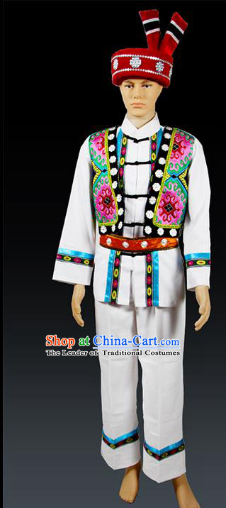Traditional Chinese Miao Nationality Folk Dance Ethnic Wear, China Tujia Nationality Clothing and Hat, Ethnic Dresses Cultural Dances Costumes Complete Set for Men