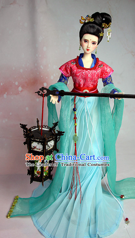 Ancient Chinese Palace Lady Hanfu Costumes and Hair Accessories Complete Set for Women Girls Adults Kids