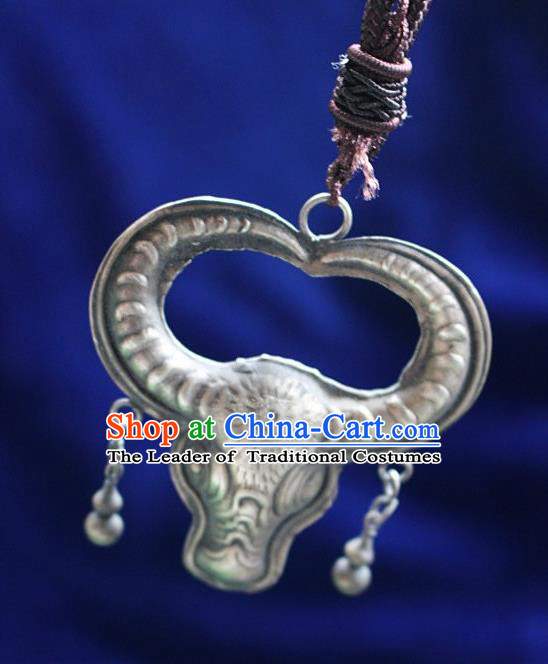 Chinese Traditional Miao Minority Hmong Folk Ethnic Ox Horn