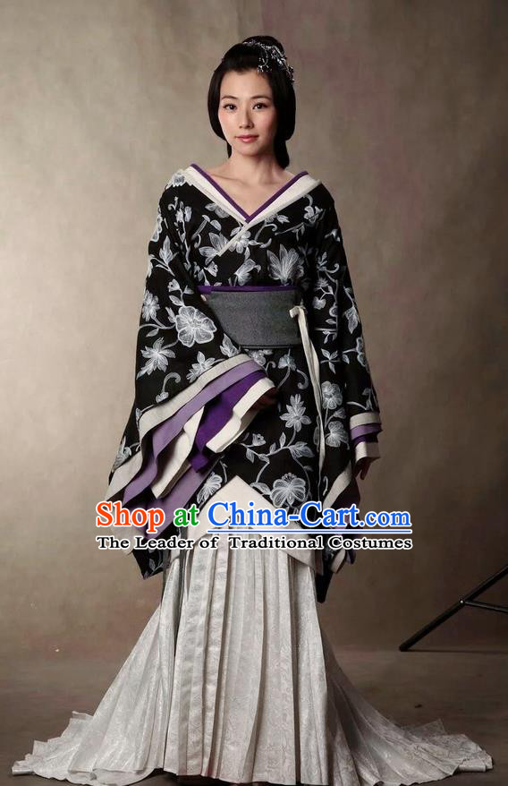 Traditional Ancient Chinese Imperial Noblewoman Costume and Headpiece Complete Set, Elegant Hanfu Clothing Chinese Han Dynasty Dowager Embroidered Dress Clothing