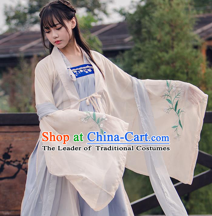 9af7d2e04 Traditional Chinese Han Dynasty Imperial Princess Costume, Elegant Hanfu  Clothing Blouse and Skirts, Chinese Ancient Young Lady Embroidered Cardigan  Dress ...