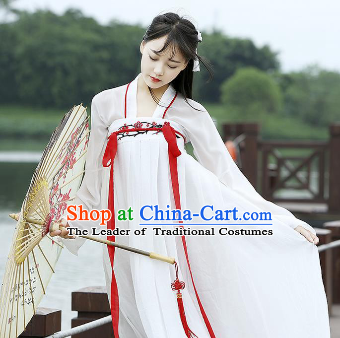 2c0534ced Traditional Chinese Han Dynasty Imperial Princess Costume, Elegant Hanfu  Clothing Blouse and Skirts, Chinese Ancient Young Lady Embroidered  Wintersweet ...