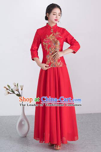 523618ea2d Traditional Ancient Chinese Wedding Costume Handmade XiuHe Suits Embroidery  Peacock Longfeng Gown Bride Toast Plated Buttons