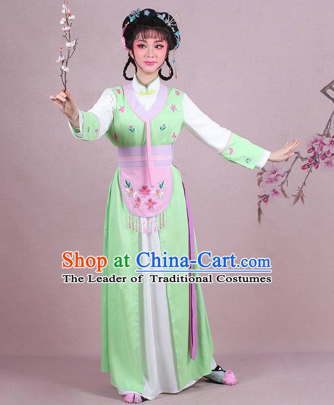 Traditional China Beijing Opera Young Lady Hua Tan Costume Servant Girl Embroidered Green Clothing, Ancient Chinese Peking Opera Diva Embroidery Dress Clothing