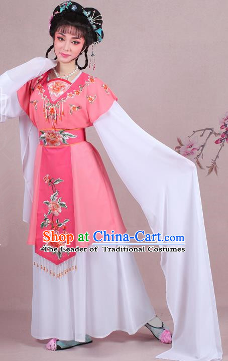 Traditional China Beijing Opera Young Lady Costume Embroidered Watermelon Red Servant Girl Dress, Ancient Chinese Peking Opera Diva Embroidery Peony Clothing