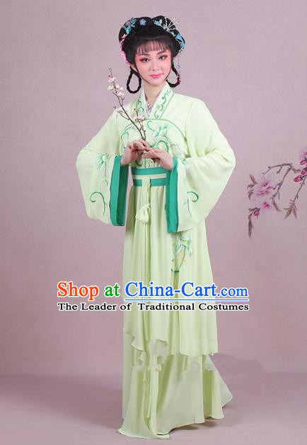 Traditional China Beijing Opera Palace Lady Costume Embroidered Servant Girl Dress, Ancient Chinese Peking Opera Diva Embroidery Green Clothing