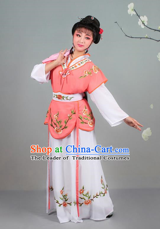 Traditional China Beijing Opera Young Lady Costume Servant Girl Embroidered Orange Dress, Ancient Chinese Peking Opera Diva Jordan-Sitting Embroidery Clothing
