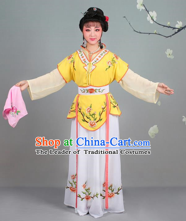 Traditional China Beijing Opera Young Lady Costume Servant Girl Embroidered Yellow Dress, Ancient Chinese Peking Opera Diva Jordan-Sitting Embroidery Clothing
