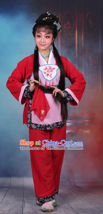 Traditional China Beijing Opera Young Lady Hua Tan Costume Servant Girl Red Embroidered Dress, Ancient Chinese Peking Opera Diva Maidservants Embroidery Clothing