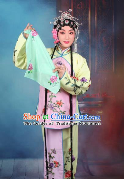 Top Grade Professional Beijing Opera Young Lady Costume Servant Girl Pink Embroidered Clothing, Traditional Ancient Chinese Peking Opera Maidservants Embroidery Clothing