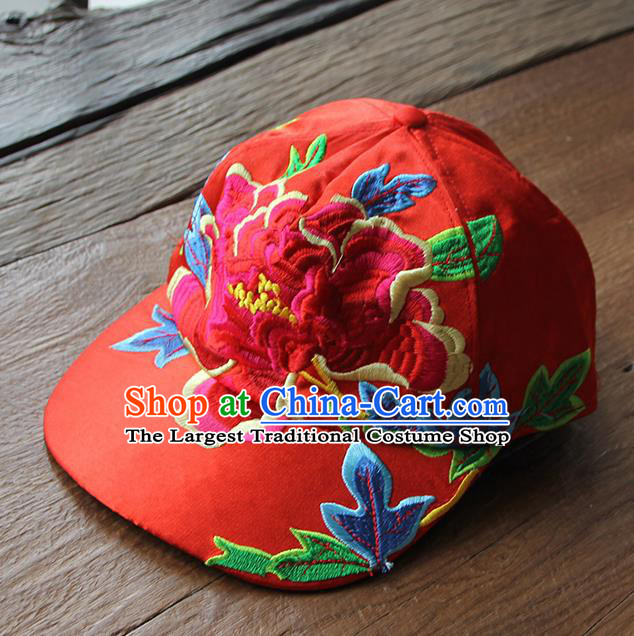 dbacff3d0d0 Chinese Traditional Embroidered Peony Red Baseball Cap Yunnan Minority Hat  for Women
