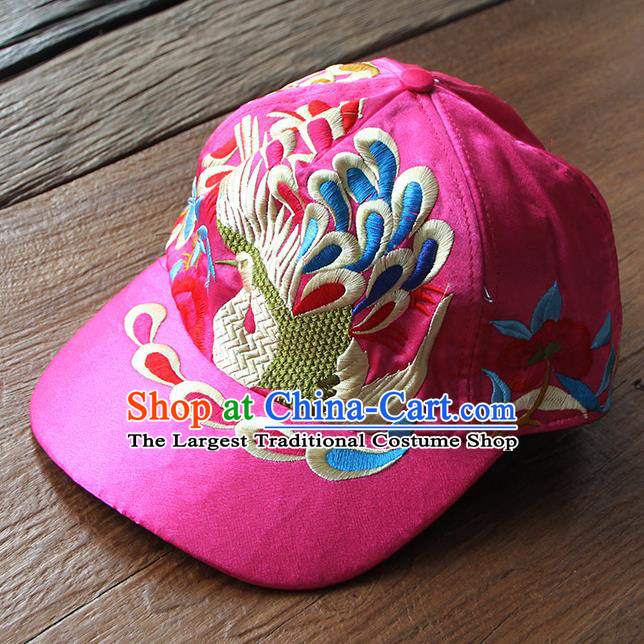 24ee0938b53 Chinese Traditional Embroidered Peacock Rosy Baseball Cap Yunnan Minority  Hat for Women