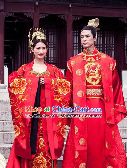 6a7ecd1ed Ancient Chinese Tang Dynasty Emperor and Empress Embroidered Wedding  Costume Complete Set