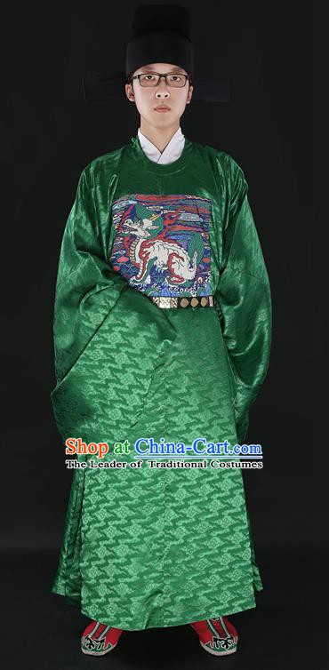 Chinese Ming Dynasty Court Censor Costumes Ancient Chancellor Embroidered Haechi Green Robe for Men