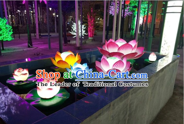Handmade Stage Pond Giant 3 Meters Acrylic Lotus Flower Props Arts Lantern