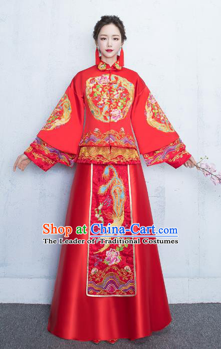 5772c9e74f Chinese Traditional Bride Toast Clothing Xiuhe Suits Ancient Embroidery  Peony Bottom Drawer Wedding Costumes for Women