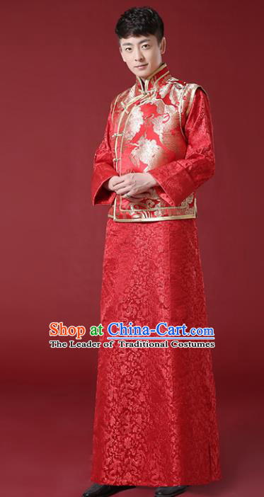 c86e8be9e Chinese Traditional Wedding Embroidered Costume Ancient Bridegroom Toast  Tang Suit Clothing for Men