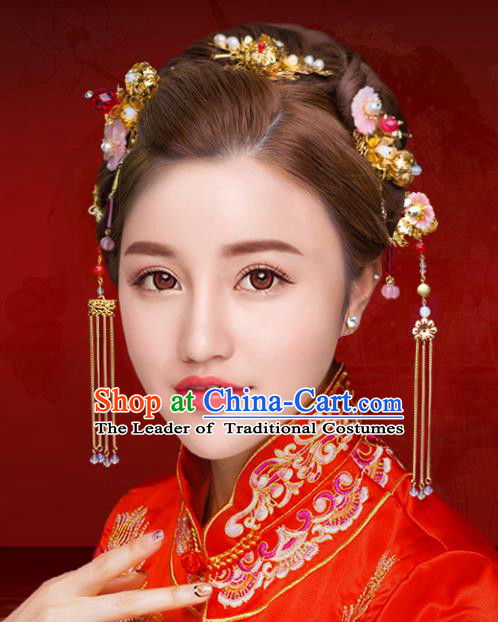 7496dc8d3 Chinese Traditional Xiuhe Suit Hair Accessories Shell Flowers Phoenix  Coronet Ancient Hairpins Complete Set for Women