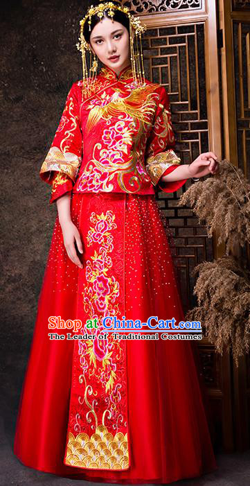 f5eeee0c32 Chinese Traditional Wedding Dress XiuHe Suit Ancient Bride Embroidered  Peony Toast Cheongsam for Women