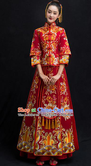 9899174ebf Chinese Traditional Bridal Toast Xiuhe Suit Wedding Dress Ancient Bride  Embroidered Peony Cheongsam for Women