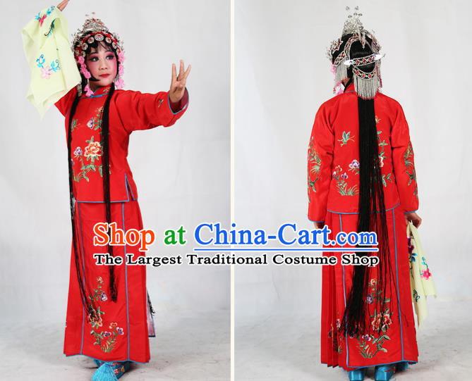 631fd33b1 Traditional Chinese Beijing Opera Children Costume Peking Opera Maidservants  Red Dress for Kids