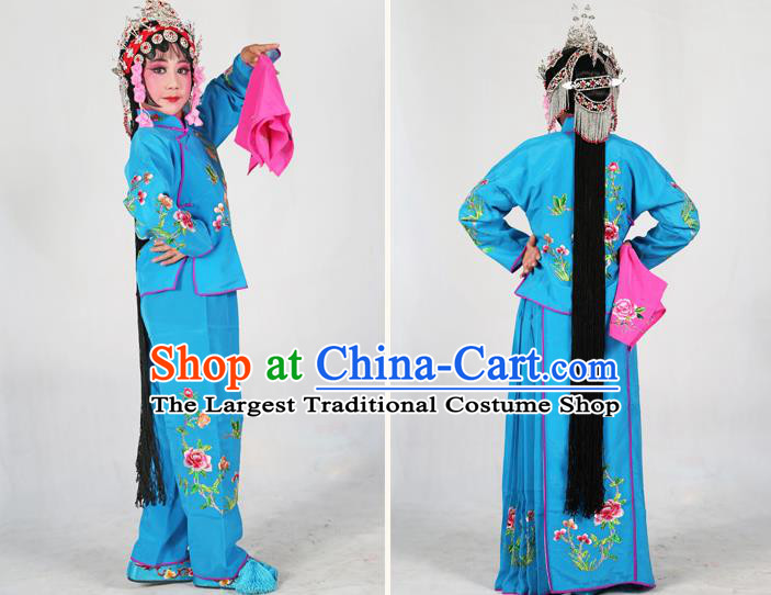 d604b7744 Traditional Chinese Beijing Opera Children Costume Peking Opera Maidservants  Deep Blue Dress for Kids