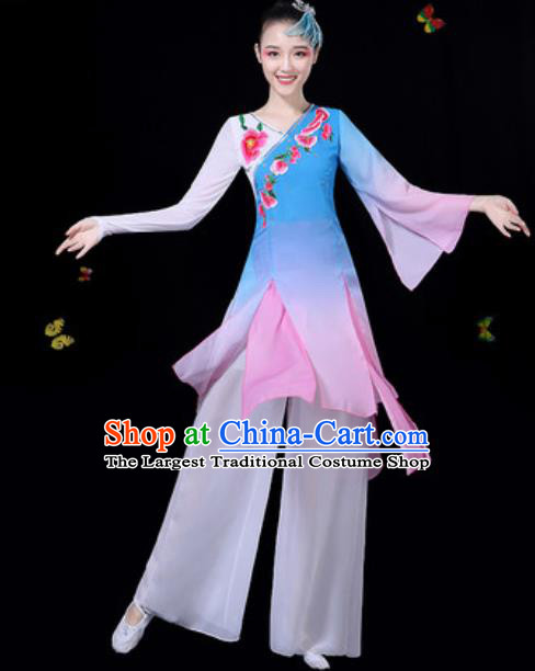 9b91f0d54 Traditional Chinese Classical Dance Blue Dress Umbrella Dance Group Dance  Stage Performance Costume for Women